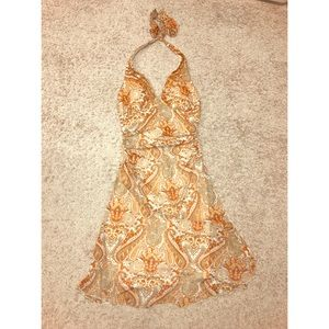 Orange paisley halter beach dress
